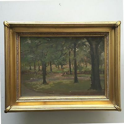 Vintage Original Oil Painting, Unsigned - Landscape, Trees in a Park
