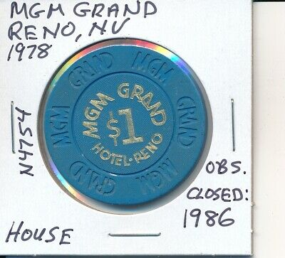 $1 Casino Chip Mgm Grand Reno Nv 1978 House #N4754 Obs Closed 1986 Gambling