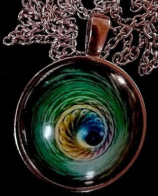 "Peacock Feather Pendant Necklace Glass Cabochon 20"" Chain ~ NEW stocking stuffer"