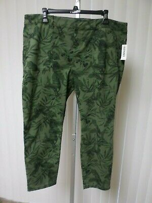 Old Navy Olive Leaf Print Mid-Rise Utility Pixie Chino Ankle Pants  Sz16P   Nwt