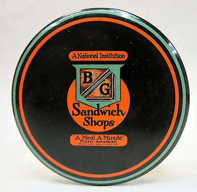 early BG SANDWICH SHOPS celluloid advertising paperweight pocket mirror *