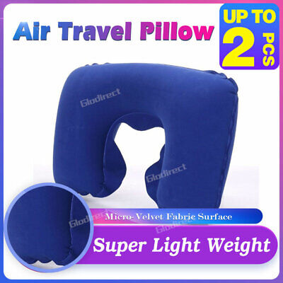 2X Portable Travel Flight Neck Air Pillow Inflatable Sleeping Cushion Support AU