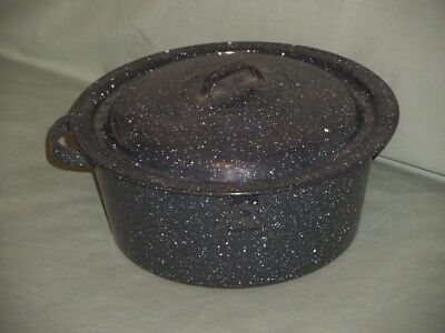 Vintage Enamelware Pot & Lid Dark Navy Blue Speckled Graniteware Metal Pan