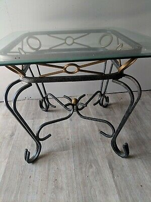 Small Coffee Table Side table Wrought Iron Bevelled Glass As New French style