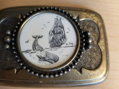 Vintage Metal Belt Buckle Whale + Ship Carving, Looks like Scrimshaw, Joe Luiz