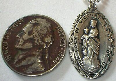 ⭐ Wwi Sterling Medal Antique Pendant ✞ Our Lady Victory ☧ Priest Roman Catholic