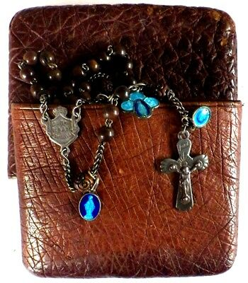 ⭐ Rosary Antique Rosaries ✞ Lourdes 15 Decade Pilgrimage Beads ☧ Medals Enameled