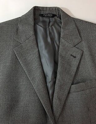 Jos A Bank 41R Signature Sportcoat Gray Charcoal Houndstooth Wool Mens Chest 42""