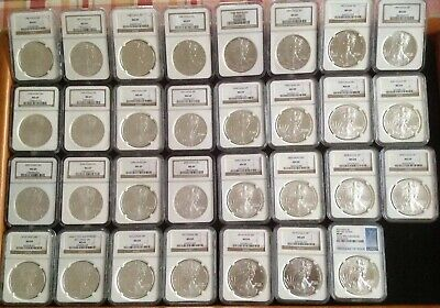 1986-2016 $1 Silver American Eagle Set MS 69 NGC Complete Set