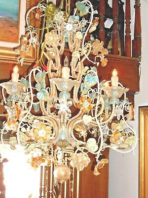 Murano Chandelier Hand-blown Glass Flowers ,Leaves and Accents