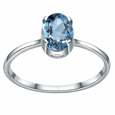 1 Ct Oval Blue Topaz Stone 925 Sterling Silver Antique Huge Engagement Ring #80