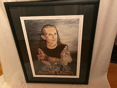 "Indian Larry Portrait ""The Artist"" Signed Motorcycle Art Print Painting Framed"
