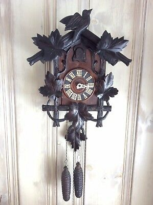 "1890 German Black Forest cuckoo clock Hand Carved 17"" X 14"""