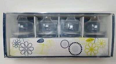 "Dansk Bouquettes Clear Glass Mini Vases 2.25"" Tall  Set Of 4"