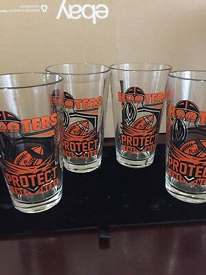 Set of 4 - Hooters 'Protect the Nest' Glass Cup Beer Mug Football Collectible