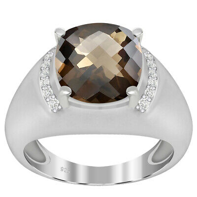 3.41 Ct Cushion Smoky Quartz and Topaz 925 Sterling Silver Ring Women Gift #10