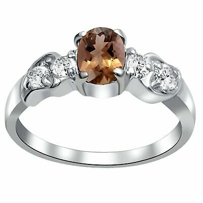 1.3 Ct Oval Shape Brown Smoky Quartz Topaz 925 Sterling Silver Promise Ring #45