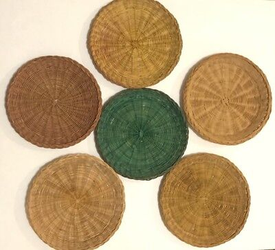 Wicker Rattan Natural Green Paper Plate Holders Lot 7 Camping Picnics Outdoor