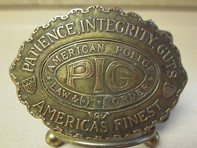 "Vintage Men's Solid Brass Belt Buckle 'Pig' Patience, Integrity, Guts  ""Look"""