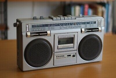 SIlver Boombox GhettoBlaster, Made in Japan, Retro, Vintage, Works Rare, Mint