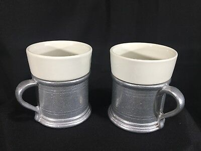 Set Of Two Coffee Espresso Mugs Cups White Porcelain And Cast Metal