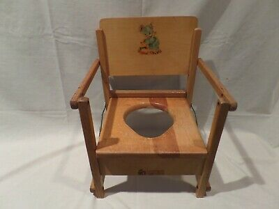 """""""Vintage"""" Rare Wooden Child's Potty Chair With Baby Bear Design From 40'S"""