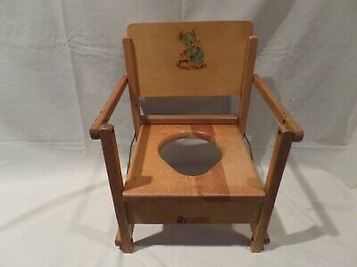 """vintage"" Rare Wooden Child's Potty Chair With Baby Bear Design From 40's"