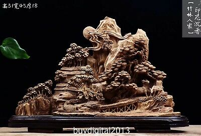 45 CM Indonesia Agarwood Chinese Mountain farmhouse cottage scenery sculpture