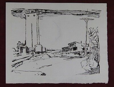 Karl Mattern (1892-1969) Nice 1938 Pen & Ink Drawing Kansas Iowa Wpa Era