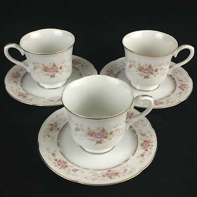 Set of 3 VTG Footed Cups and Saucers Royal Crown Fine China Floral Bouquet Japan