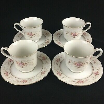 Set of 4 VTG Footed Cups and Saucers Royal Crown Fine China Floral Bouquet Japan