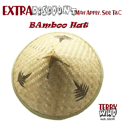 Bamboo Hat Chinese Straw  Asian Pool Party Costume Coolie Farmers Cina Vietnam