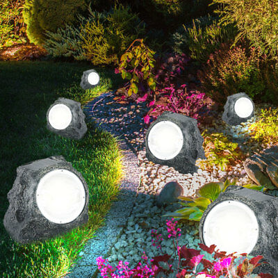 6x Luxury Led Solar Stone Decor Outdoor Area Lamps Grass Lights Park Spotlight