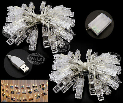 40 LED Photo Photo Clips Clips String Guirlandes Home Decor Blanc Chaud 5M