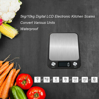 Food Weighing Scales 5kg/10kg LCD Digital Stainless Steel Cooking Kitchen Scales