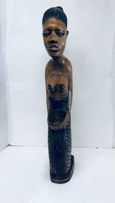Vintage Ethnic African  Woman Partially Nude Hand Carved Wooden Sculpture 30 x 4