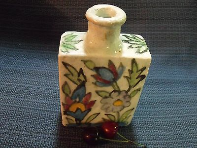 Antique Turkish Primitive Porcelain Hand Painted Floral Bottle