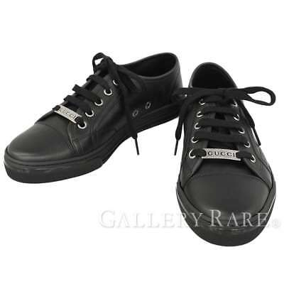5f238968e1c GUCCI Sneakers Leather Black 423298 Ladies Size 37 Logo Italy Authentic  5189380