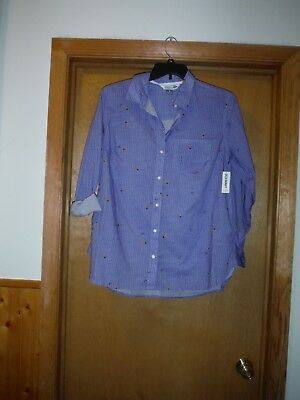 long Sleeve full Button front  Shirt Blouses 2XL,XL,L,Old Navy 100% cotton Blue
