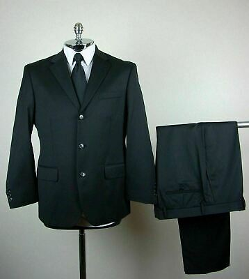 NWOT! STAFFORD PERFORMANCE Mens Black PURE WOOL 3 Button Single Vent Suit 42 S
