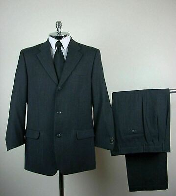 BACHRACH / ITALY Mens Dark Gray PURE WOOL 3 Button No Vent Suit size 42 R