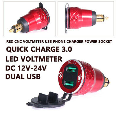 Red Voltmeter Dual USB Phone Charger Power Socket for BMW Motorcycle Hella Plug