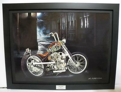 Indian Larry Chain Bobber Ltd Edition Signed Framed Motorcycle Art Print by JG