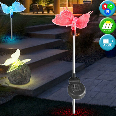 Set of 3 Led Solar Lights Butterfly Stones Exterior Lamps Patio Colour Changing