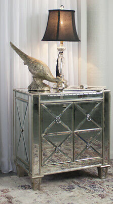 Bently Bedside Table Antique Gold Mirrored Bedside Furniture Nightstand Buffet