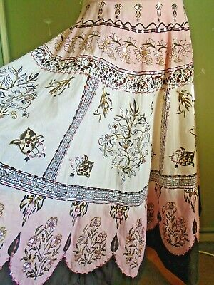 164a9f2464 Lipsy boho gypsy full skirt pink ombre sequins cotton hippy sz S/ M 12 midi