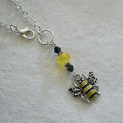 Pretty Enamel Bumble Bee Crystal Sun Catcher Rear View Car Mirror Charm Gift