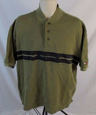 95161493 Tommy Hilfiger Mens XL Olive Green Spell Out Short Sleeve Henley Shirt CC421