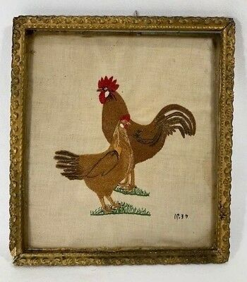 Vintage Embrordory Rooster & Hen 1937 Framed -  by Mary A Masters