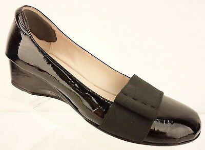 4bf70b64f66 TARYN ROSE MARY Black Patent Leather Elastic Strap Wedge Heel Shoes Womens  6.5 M